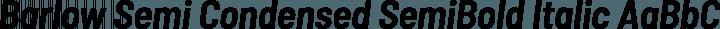 Barlow Semi Condensed SemiBold Italic free font