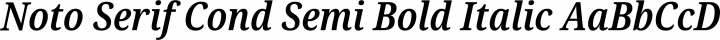 Noto Serif Cond Semi Bold Italic free font