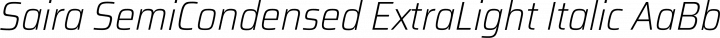 Saira SemiCondensed ExtraLight Italic free font