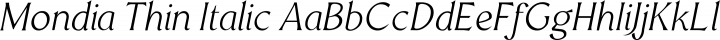 Mondia Thin Italic free font