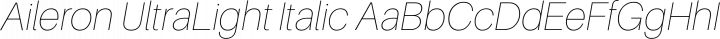 Aileron UltraLight Italic free font